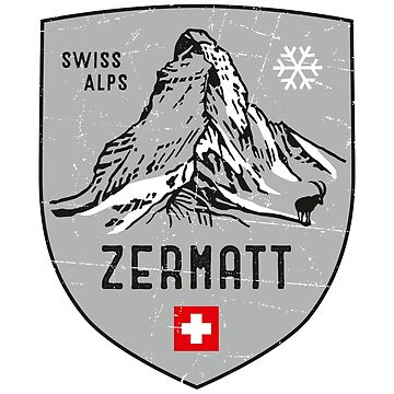 Zermatt Mountain Switzerland Emblem  by posay