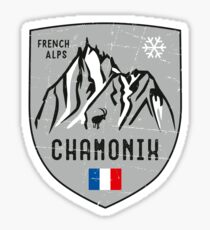Chamonix Mountain France Emblem  Sticker