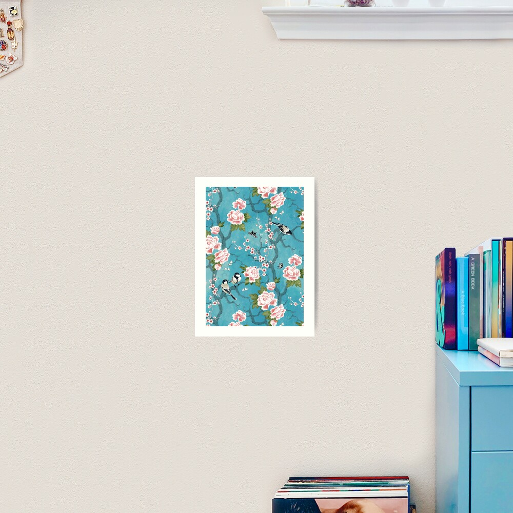 Chinoiserie birds in turquoise blue Art Print