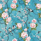 Chinoiserie birds in turquoise blue by adenaJ