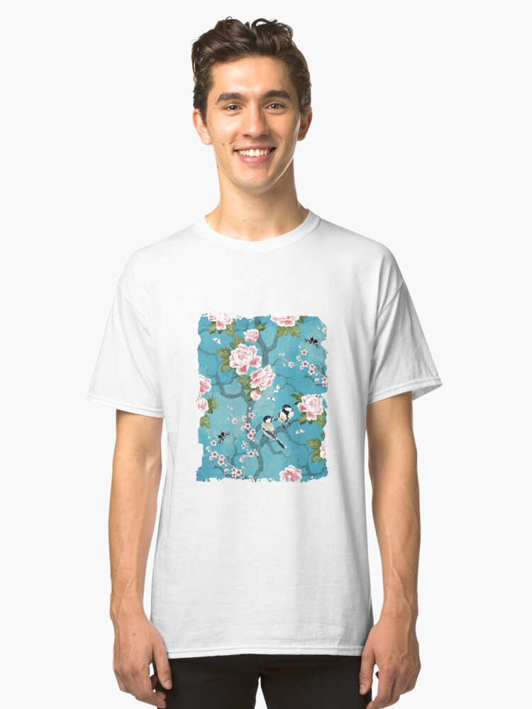 Alternate view of Chinoiserie birds in turquoise blue Classic T-Shirt