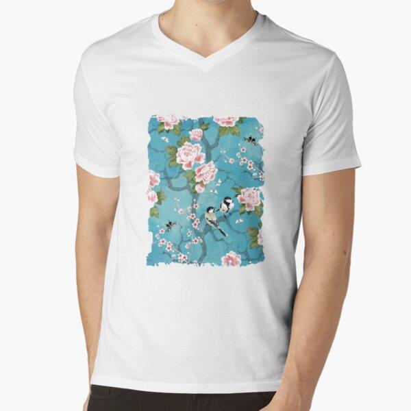 Chinoiserie birds in turquoise blue V-Neck T-Shirt