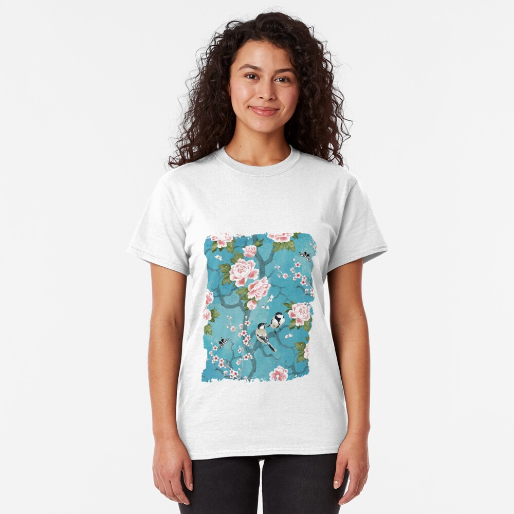 Chinoiserie birds in turquoise blue Classic T-Shirt