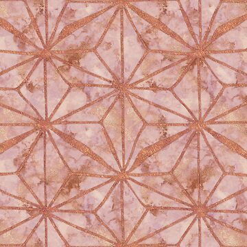 Rose Gold Metal Marble Abstract Geometric Art by Glimmersmith