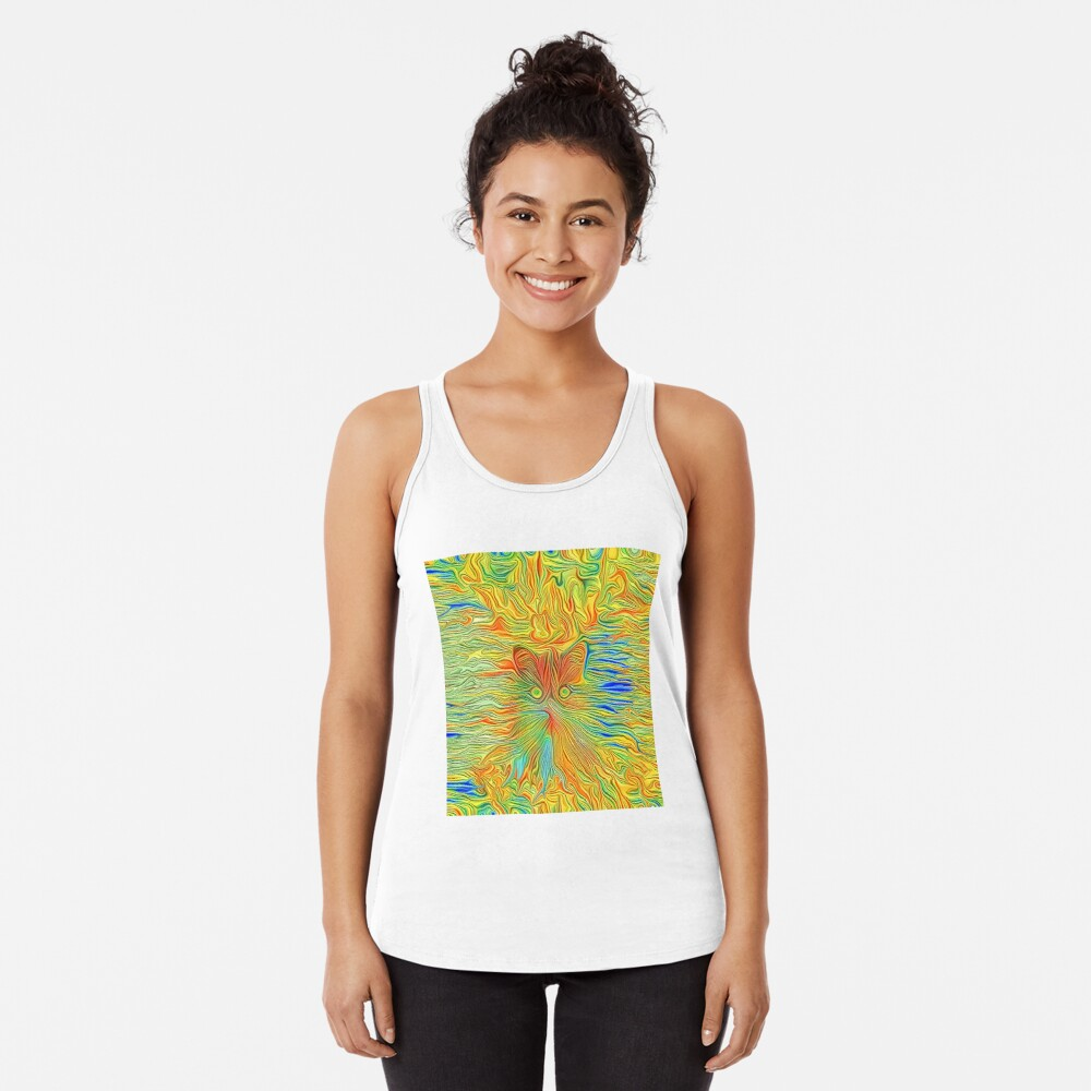 Abstract Butterfly Cat Racerback Tank Top