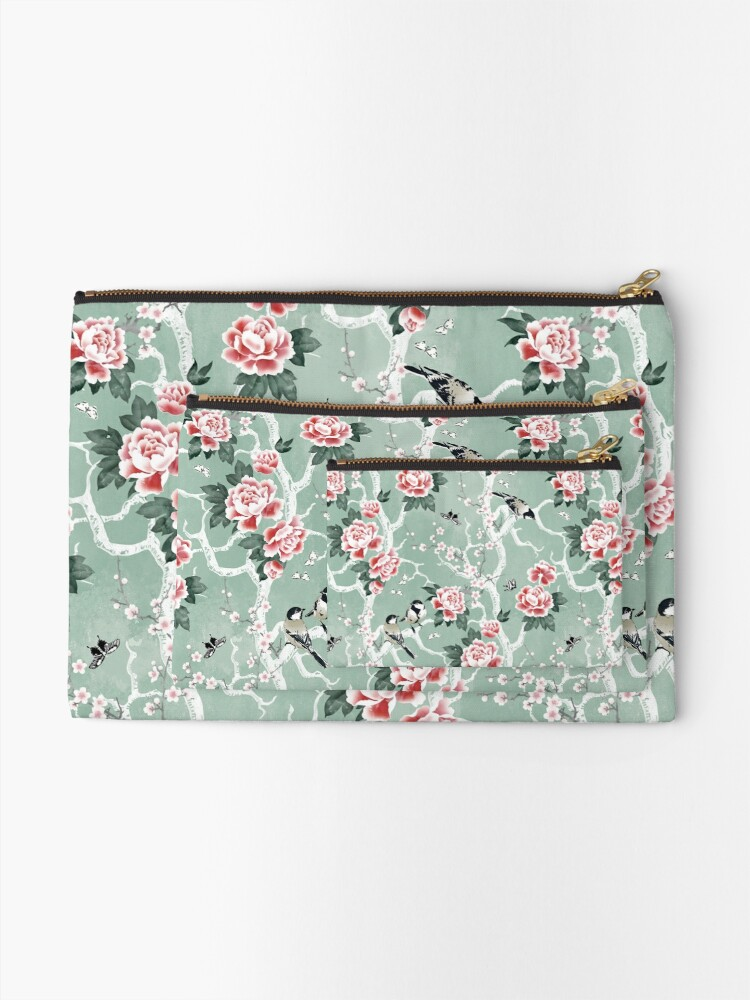 Alternate view of Chinoiserie birds in green Zipper Pouch