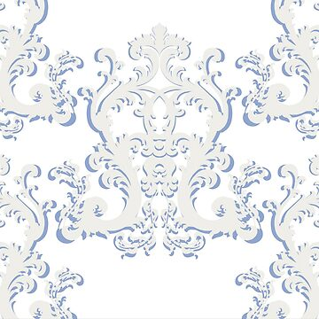 Blue and White Baroque floral damask ornament pattern by GuyBlank