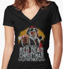 Red Dead Xmas Women's Fitted V-Neck T-Shirt