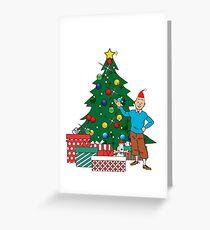 Tintin And Snowy Around The Christmas Tree Greeting Card