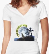 Timberwolves Collectors T-shirts and Stickers Women's Fitted V-Neck T-Shirt