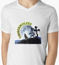 Timberwolves Collectors T-shirts and Stickers Mens V-Neck T-Shirt
