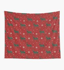Christmas Reindeers on red Wall Tapestry