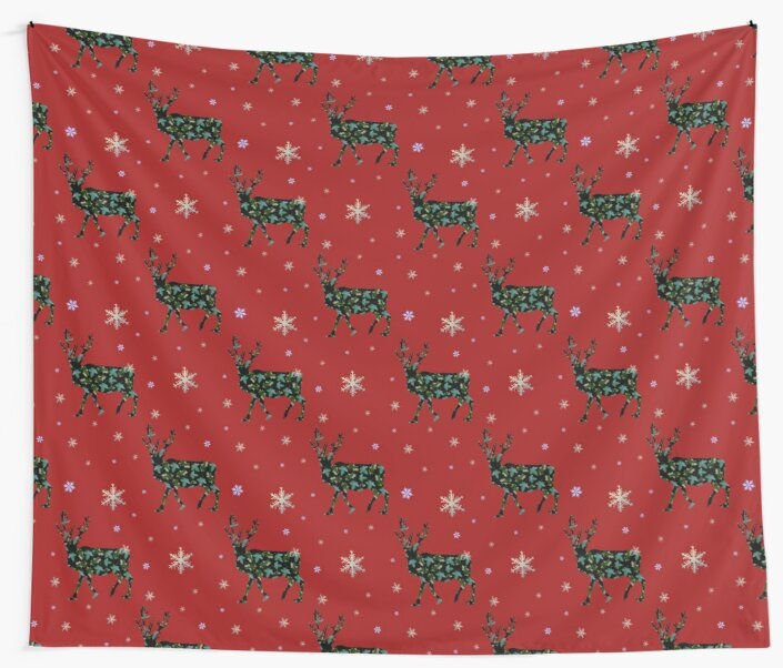 Christmas Reindeers on red by chihuahuashower