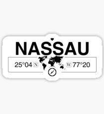Pegatina Bahamas de Nassau con coordenadas del mapa mundial GPS