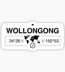 Wollongong New South Wales with World Map Coordinates    Sticker
