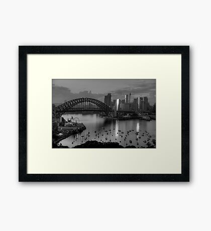 Sparkle - Sydney (Monochrome) a Study in Black and White - The HDR Experience Framed Print