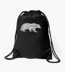 I Love Bears Silver Grizzly Polar Cub Geometric Drawstring Bag