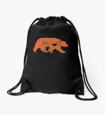 I Love Bears Orange Grizzly Black Brown Polar Cub Drawstring Bag