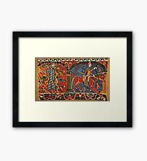 NORWEGISCHE BALDISHOL TAPESTRY, Mittelalterlicher Ritter zu Pferd Gerahmtes Wandbild