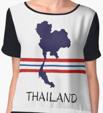Thailand - map - national colors Chiffon Top