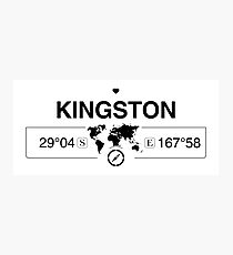 Kingston Norfolk Island with World Map Coordinates GPS   Photographic Print