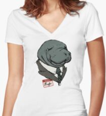 Hugh Manatee Women's Fitted V-Neck T-Shirt