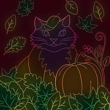 Neon Cat with Pumpkins Halloween by mimetati9