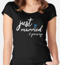2th Wedding Anniversary Gifts - Just Married 2 Years Women's Fitted Scoop T-Shirt
