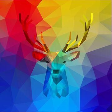 Colorful geometric caribou hologram illustration by artonwear