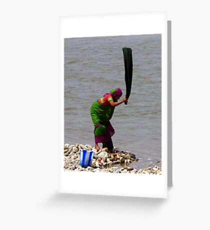 Wash day in Assam, India Greeting Card