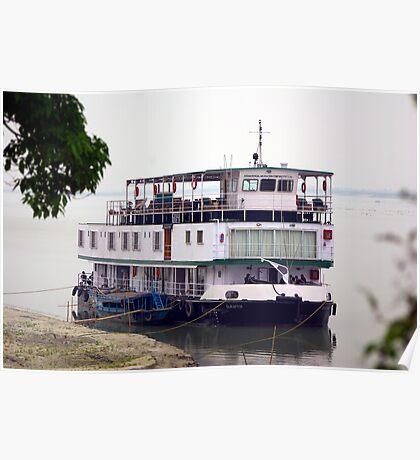 The RV Sukapha on the Brahmaputra River, Assam, India. Poster
