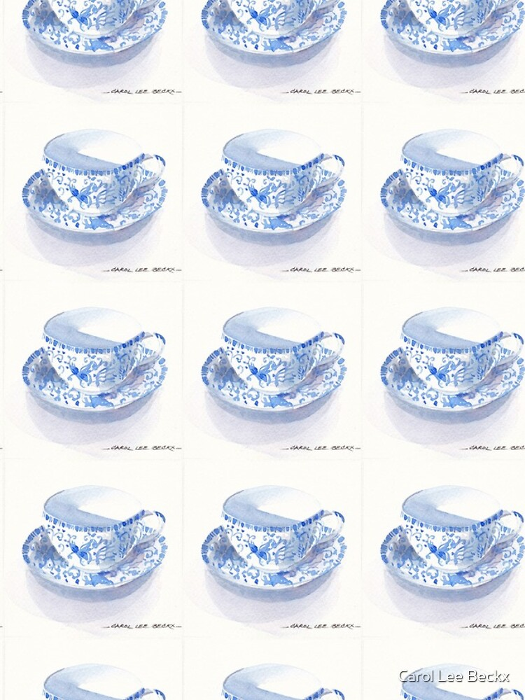 Blue and White Japanese Teacup by Carol-Lee-Beckx
