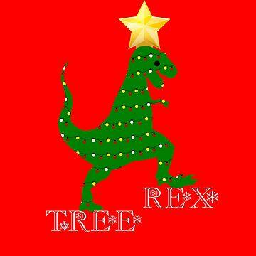 Tree Rex T-Shirt Funny Dinosaur Christmas Tree Lights Shirt by ravishdesigns