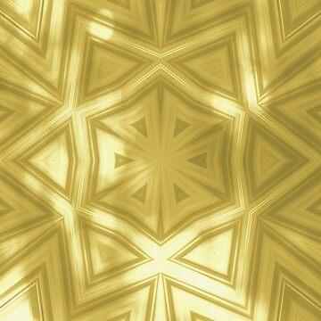 Elegant gold striped kaleidoscope with bokeh by hereswendy