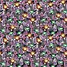 purple tropical print by Lara Wolf