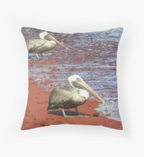 Brown Pelicans on a Red Beach Throw Pillow