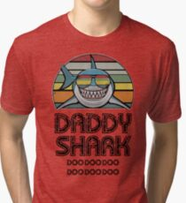Daddy Shark Retro Tri-blend T-Shirt