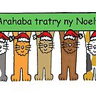 Madagascan Happy Christmas,  Cartoon Cats. by KateTaylor