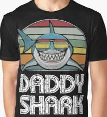 Daddy Shark Retro - For Dark Print Graphic T-Shirt