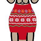 Weimaraner Christmas Santa Hat and Nordic Sweater  by HappyLabradors