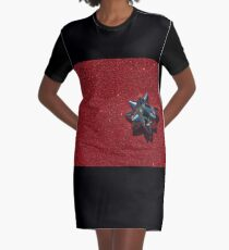 Christmas:  Silver Star on Millions of Red Sparkles Graphic T-Shirt Dress