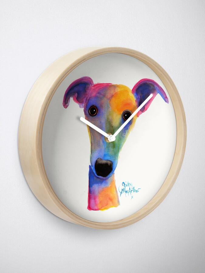 Alternative Ansicht von WHIPPET / GREYHOUND PRINT 'PANSY' Von Shirley MacArthur Uhr