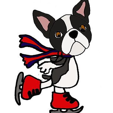 Cute Boston Terrier Dog Ice Skating Cartoon by naturesfancy
