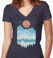 Cabin In The Snow Women's Fitted V-Neck T-Shirt