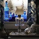 Antique Blue Bottles In A Window by Robert W. Spath II