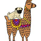 Funny Pug Riding Llama Cartoon by naturesfancy