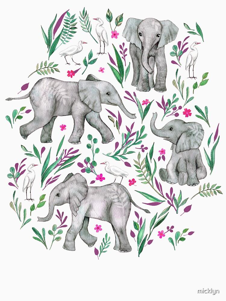 Baby-Elefanten und Reiher im Aquarell - Burgunder-Rot von micklyn