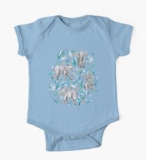 Baby Elephants and Egrets in Watercolor - egg shell blue One Piece - Short Sleeve