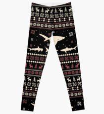 Shark Ugly Christmas Sweater Leggings