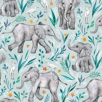 Baby Elephants and Egrets in Watercolor - egg shell blue by micklyn